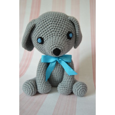 Amigurumi  Gray  Dog - cotton